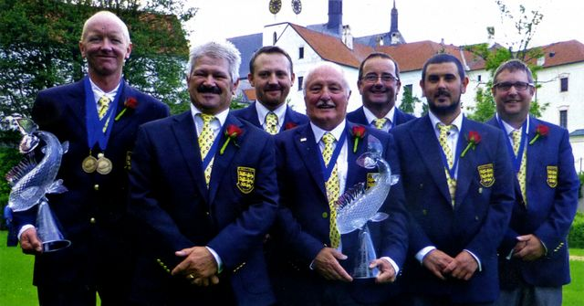 England's successful World Team. From left: Andrew Scott, John Horsey, Howard Croston, Paul Page (manager), John Tyzack, Phil Dixon and Mike Dixon.