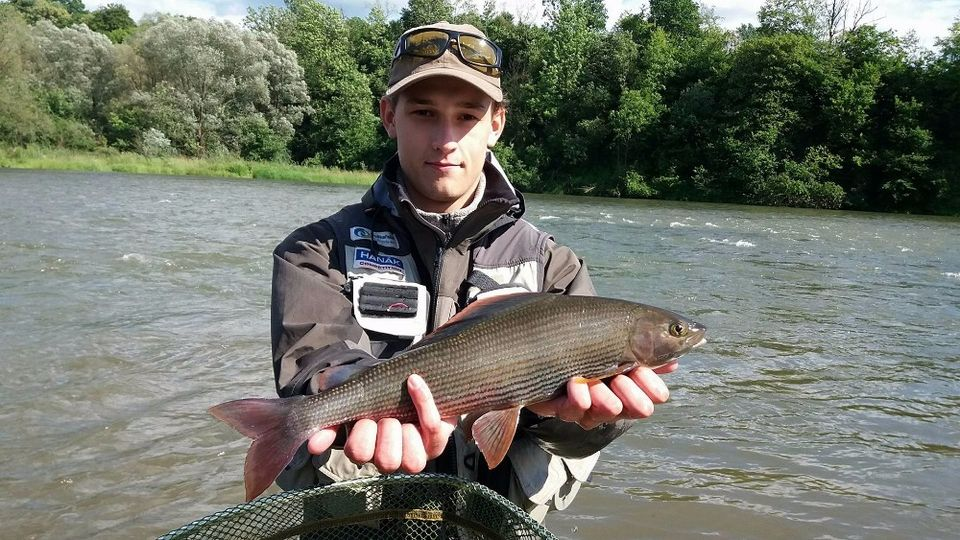 Patrik with river San grayling