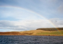 The rainbow abow Llyn Brennig Reservoir